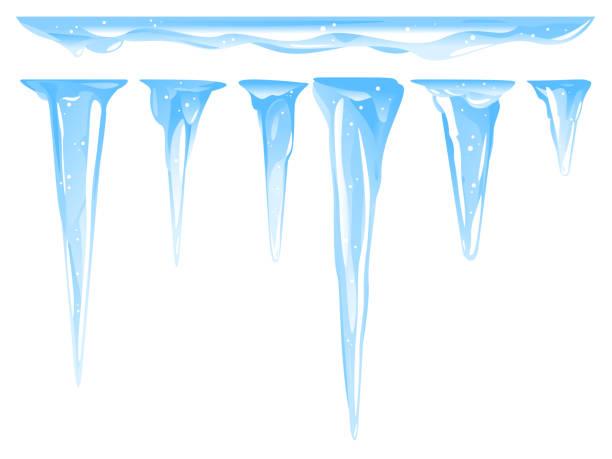 satz von verschiedenen eiszapfen isoliert eiszeichen abbildung - eiszapfen stock-grafiken, -clipart, -cartoons und -symbole
