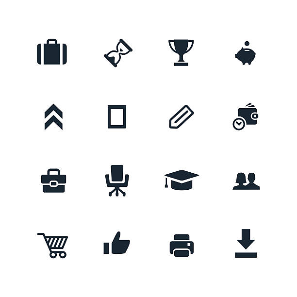 illustrations, cliparts, dessins animés et icônes de démarrage icônes set - décoller activité