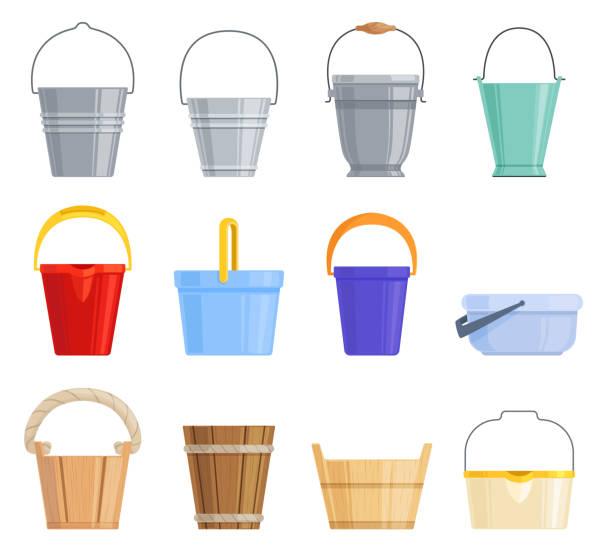 stockillustraties, clipart, cartoons en iconen met set van verschillende ijzer, plastic en houten emmers van verschillende vormen. vectorillustratie. - emmer