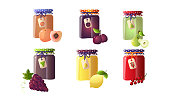 Collection set of different jams in glass jars with peach, plum, pear, lemon, currant, grape. Isolated icons set illustration on a white background in cartoon style.