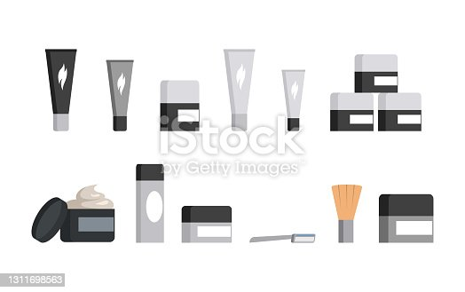 istock Set of different jars and tubes of cosmetics and shaving tool isolated on white background. Razor and shaving brush. 1311698563