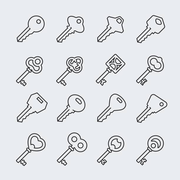 ilustrações, clipart, desenhos animados e ícones de conjunto de chaves diferentes, em estilo de estrutura de tópicos - chave