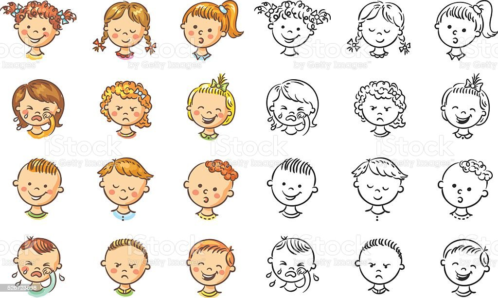 Set Of Cartoon Childrens Faces Stock Vector Art More: Set Of Different Kids With Various Emotions Stock Vector