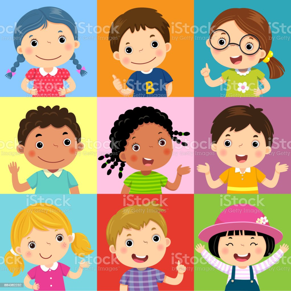 Set of different kids with various postures vector art illustration