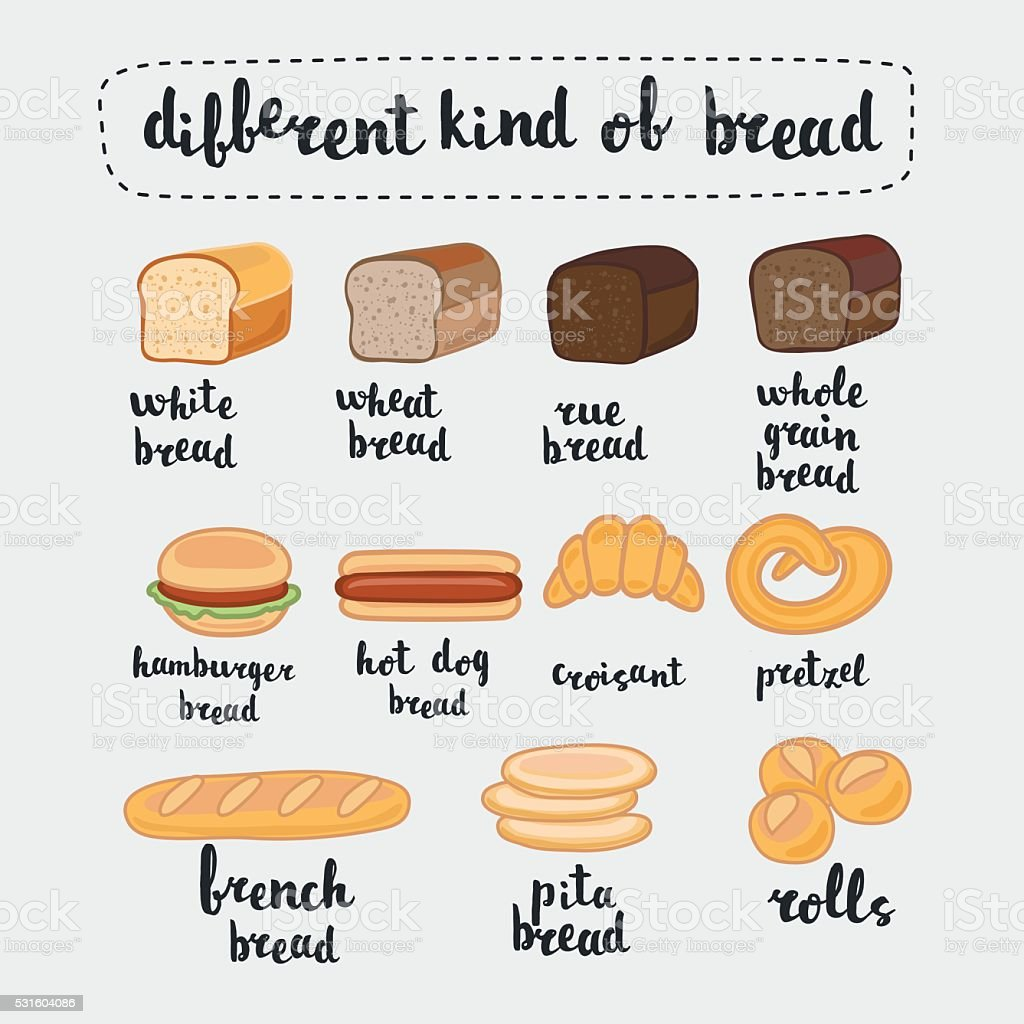 Set Of Different Kind Of Bread Stock Vector Art Amp More