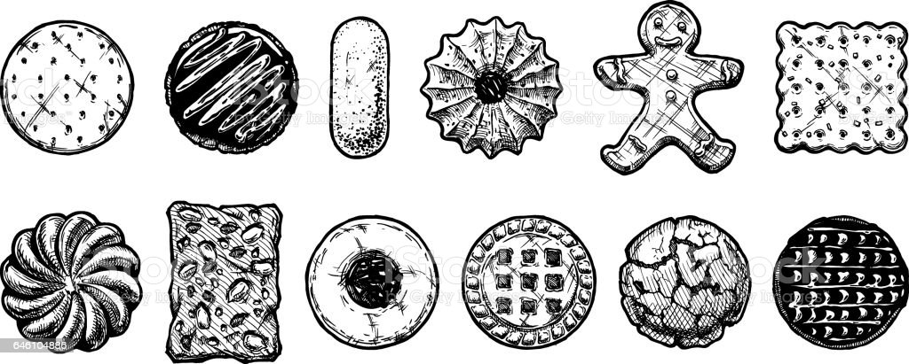 Set of different kind of cookies vector art illustration