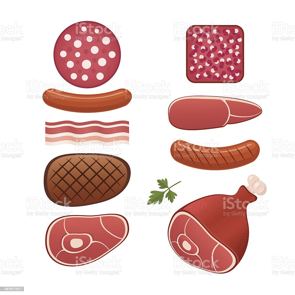 Set of different kind of sausages and meats royalty-free stock vector art