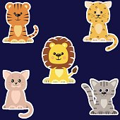 Set of different kinds of cats stickers.