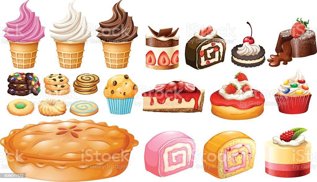 Set of different kinds of desserts vector art illustration