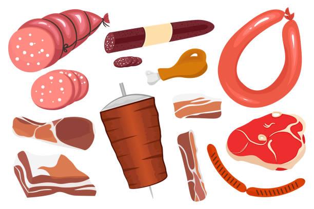 reihe von verschiedenen arten von fleisch. vektor-illustration von fleisch, wurst, speck und döner - schweinebauch stock-grafiken, -clipart, -cartoons und -symbole