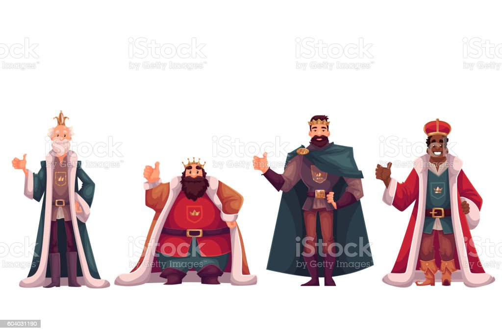 Set of different kings in crowns and mantles vector art illustration