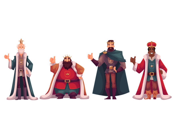 set of different kings in crowns and mantles - prince stock-grafiken, -clipart, -cartoons und -symbole
