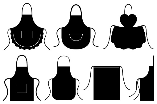 Set of different kitchen aprons