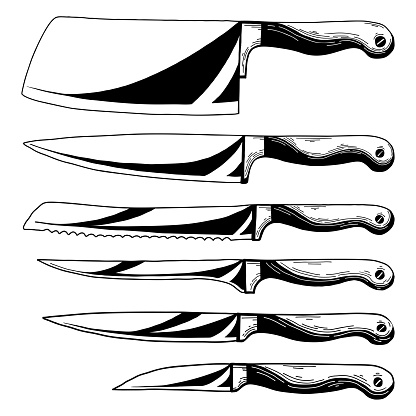 Set of different kitchen knives. Realistic sketch. Vector