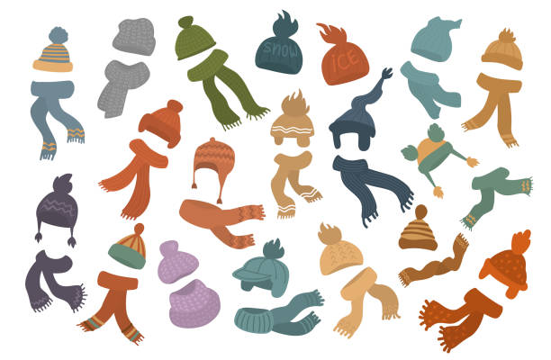 ilustrações de stock, clip art, desenhos animados e ícones de set of different knit hats caps and scarves - cachecol