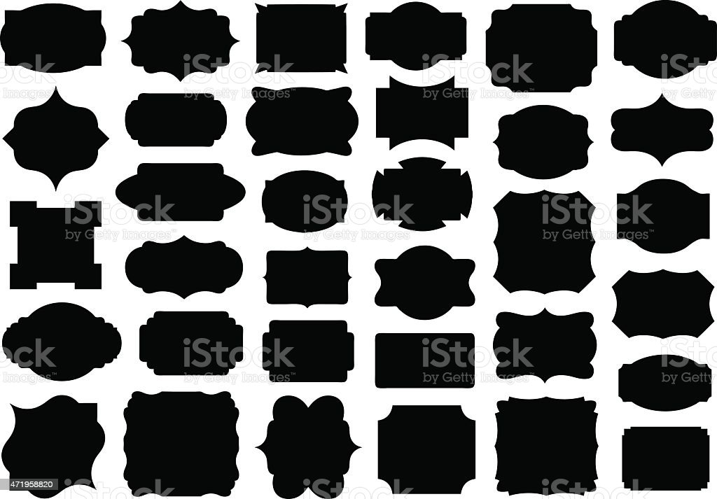 Set of different labels vector art illustration