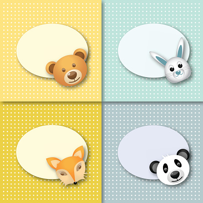 Set of different labels with animals