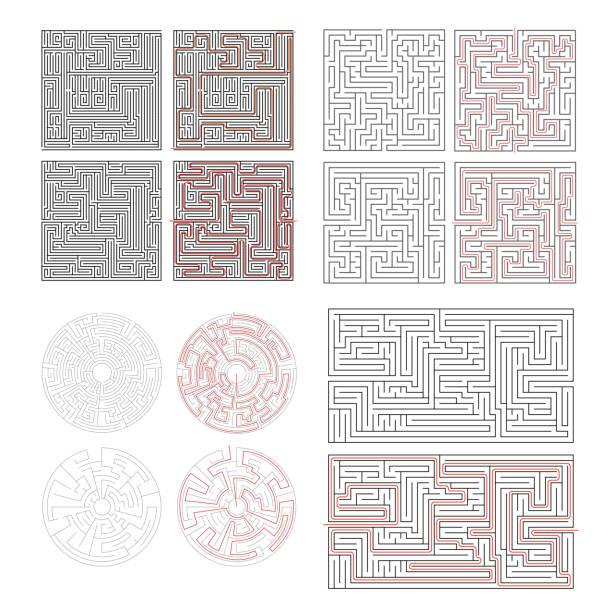 set of different labyrinths with solutions on white - labyrinthgarten stock-grafiken, -clipart, -cartoons und -symbole