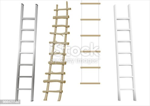 A set of different ladders made of wood or metal. Rope-ladder. Vector graphics with transparency effect