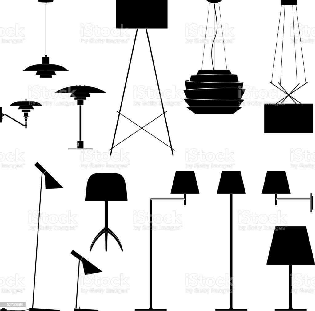 세트마다 다른 램프 블랙힐스 실루엣 바닥 테이블 및 촛대 ...