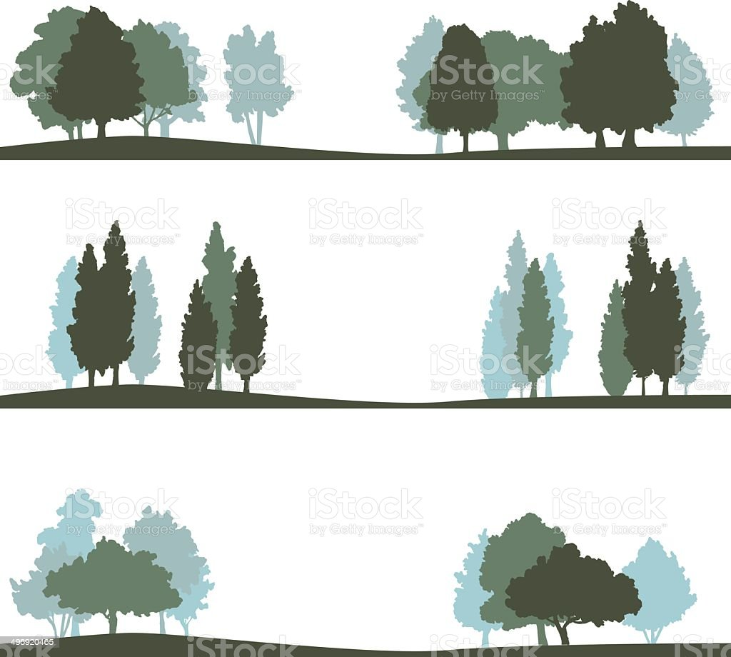 set of different landscape with trees vector art illustration