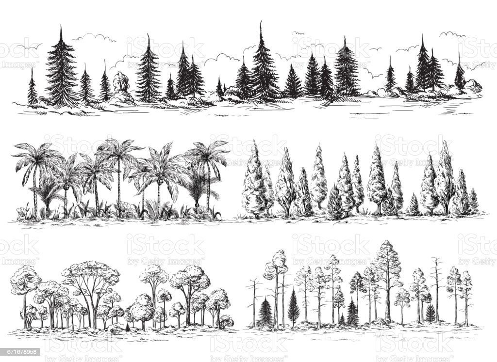set of different landscapes with trees vector art illustration