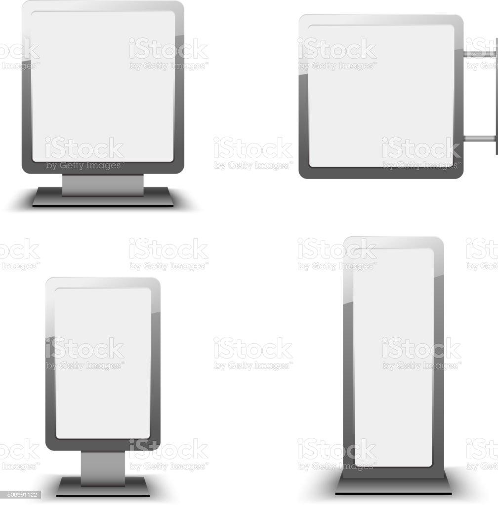 Set of different light boxes vector art illustration
