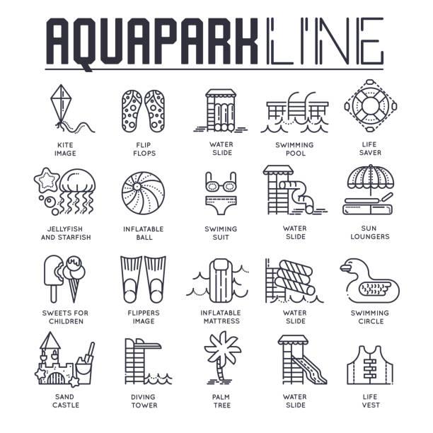 ilustrações de stock, clip art, desenhos animados e ícones de set of different line-drawn icons dedicated to aquapark theme. layout modern vector background illustration design concept - brinquedos na piscina
