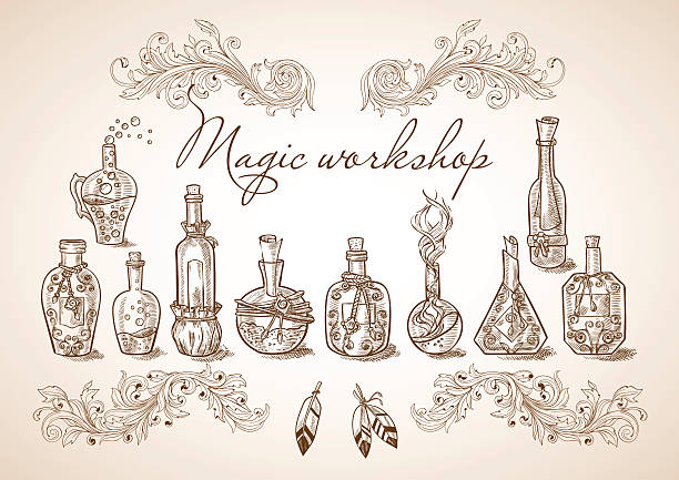 Set of different magic bottles and cans Set of different bottles and cans magic potions and liquids to the magic of cooking or kitchen design drawing of a glass liquor flask stock illustrations