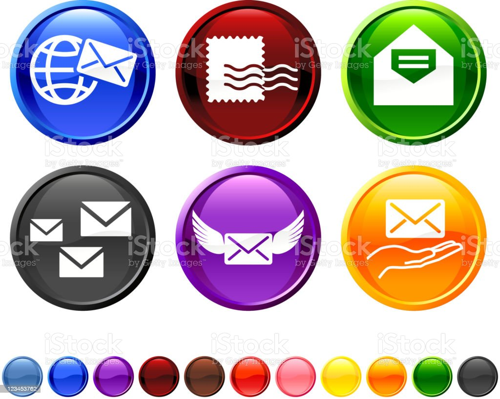 Set of Different Mail Icons on White Background royalty-free stock vector art