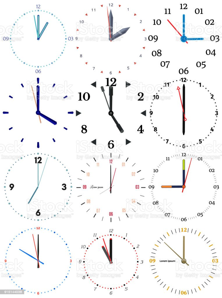 A Set Of Different Mechanical Clocks With An Image Of Each Of The ...