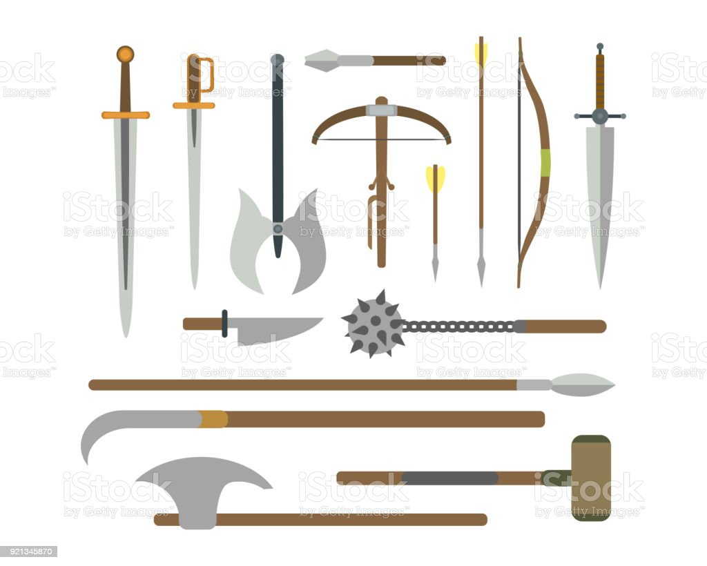 Set of different medieval weapons vector flat illustrations. vector art illustration