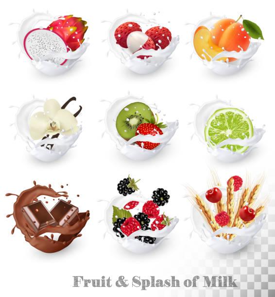 stockillustraties, clipart, cartoons en iconen met set van verschillende melk spatten met fruit, noten en bessen. - vanille