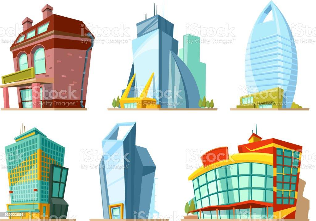 Ilustración de Conjunto De Edificios Modernos En Estilo De ...