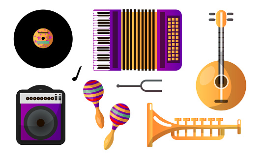 Set of different modern musical instruments and tools for playing and listening. Vector illustration in flat cartoon style.