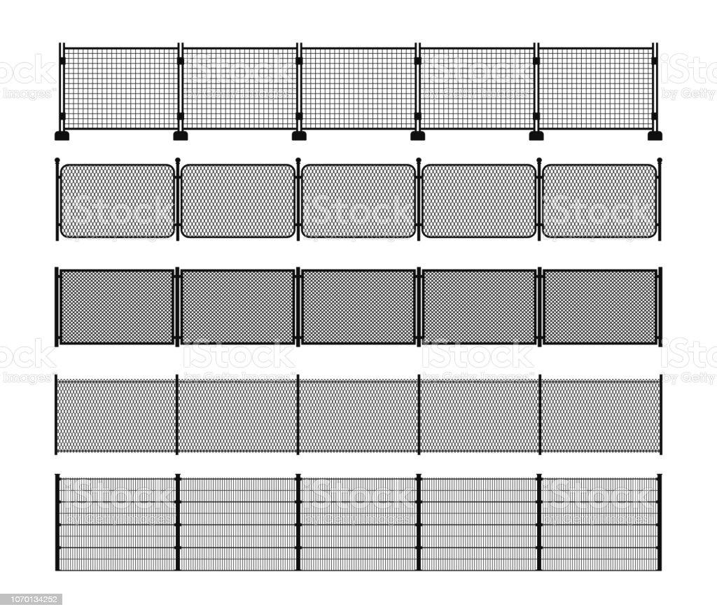 Conjunto de siluetas de diferentes valla metálica modular - ilustración de arte vectorial