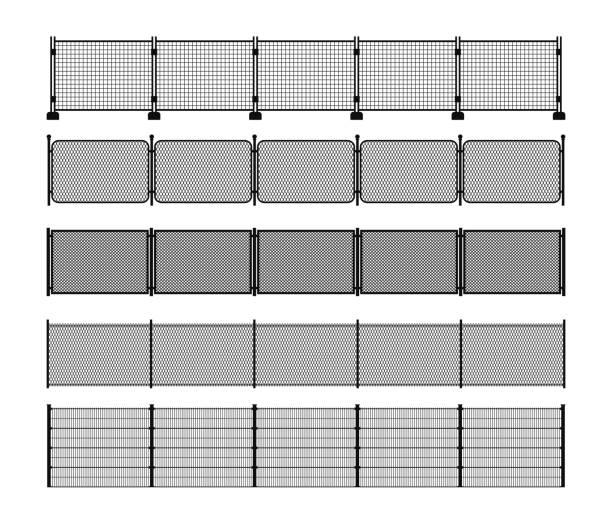 stockillustraties, clipart, cartoons en iconen met set van verschillende modulaire metalen hek silhouetten - hek