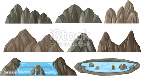 Set of different mountain illustration
