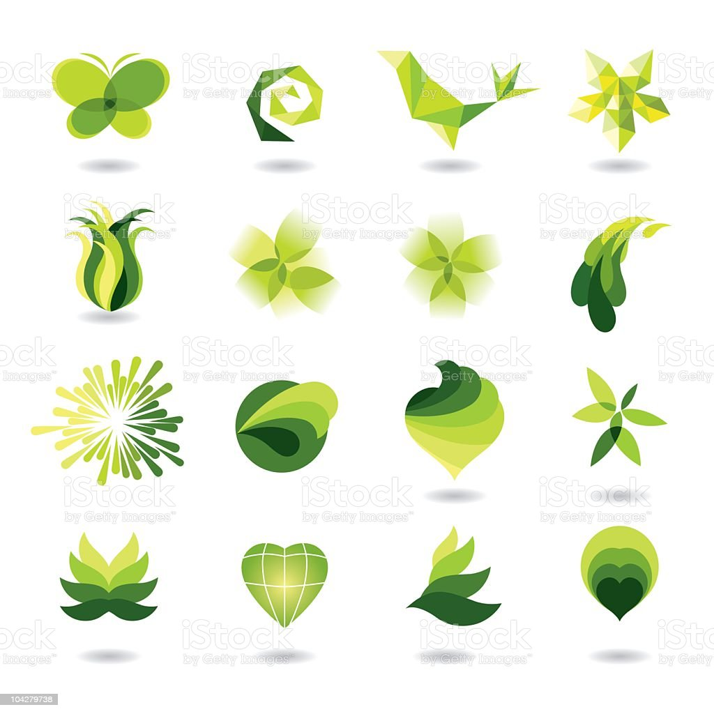 A set of different multishaded green design elements vector art illustration