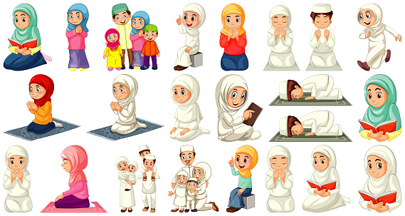 Set of different muslim people cartoon character isolated on white background