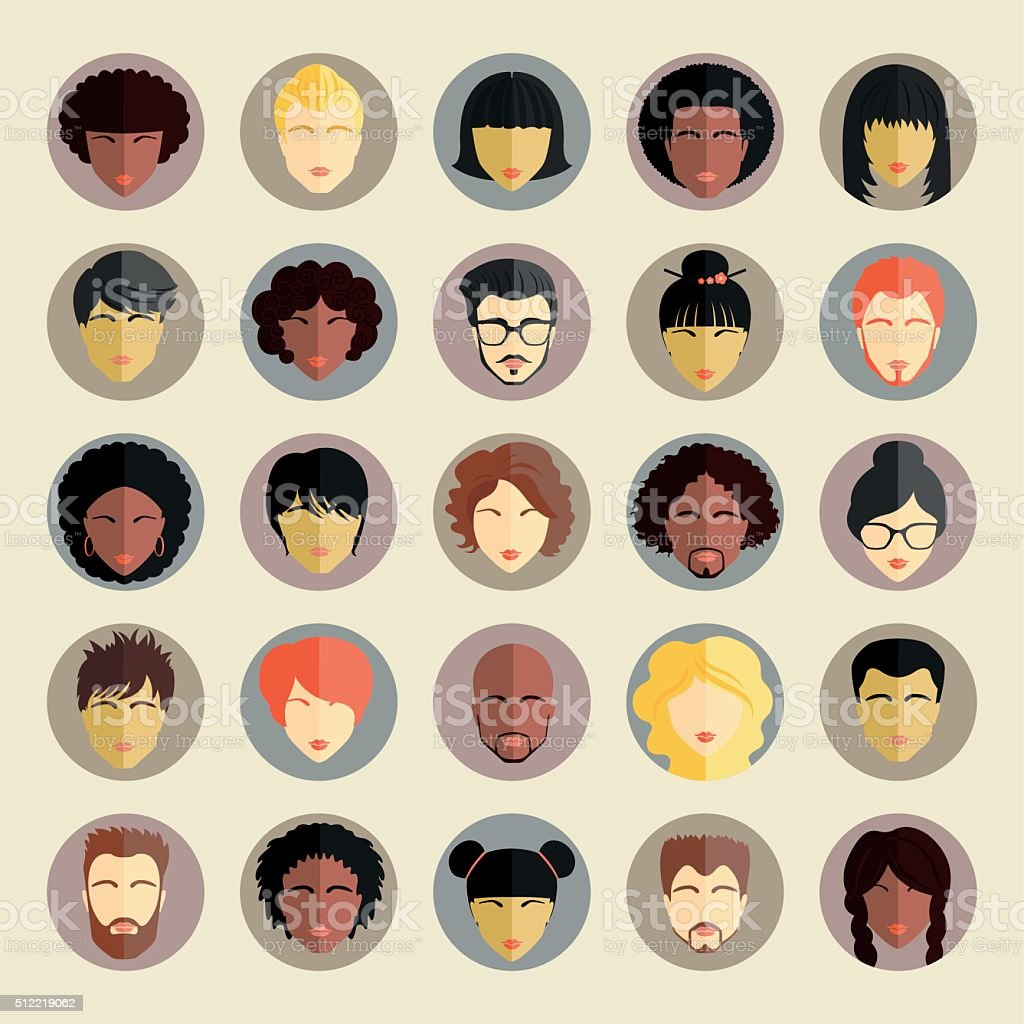 Set of different nationality people icons in flat style vector art illustration