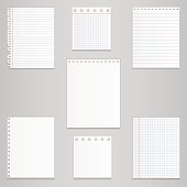 Set of different notebook paper, vector