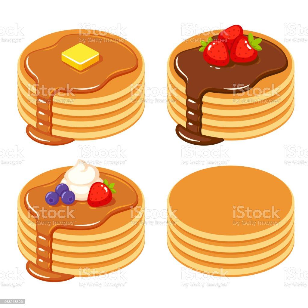 異なるパンケーキのセット - おやつのロイヤリティフリーベクトルアート