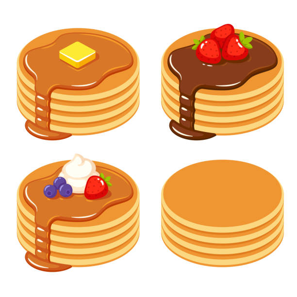 Set of different pancakes Set of pancakes with different toppings: honey and butter, chocolate syrup and fruit, and a stack of plain isolated pancakes. Traditional breakfast food vector illustration. maple syrup stock illustrations