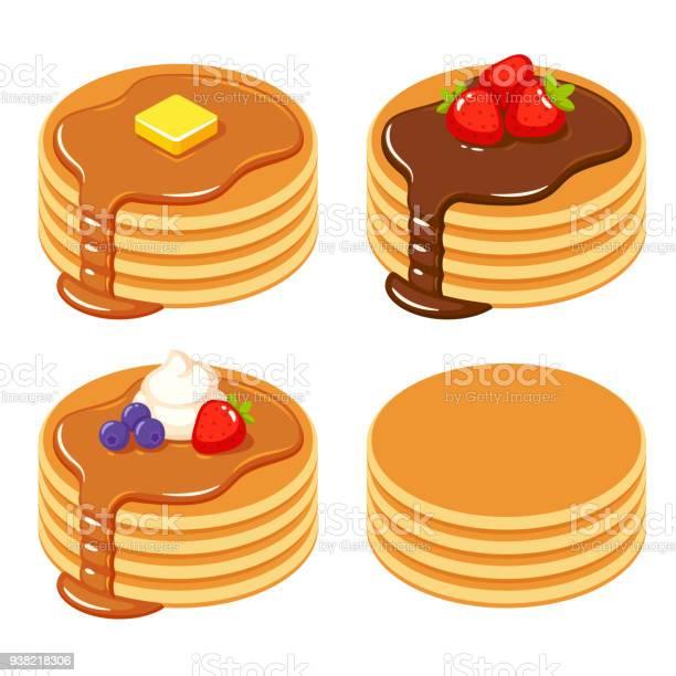 異なるパンケーキのセット - おやつのベクターアート素材や画像を多数ご用意
