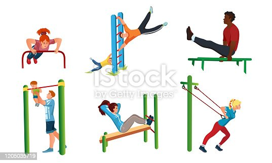 Collection set of different people doing sport workout on the street. Healthy lifestyle concept. Isolated icons set illustration on a white background in cartoon style.