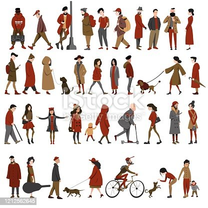 A set of different people, men and women in different clothes, different ages in different poses. A crowd of different flat vector characters.