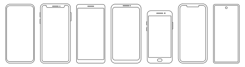 Set of different phone thin line templates. Vector mockup collection. Smartphone frames