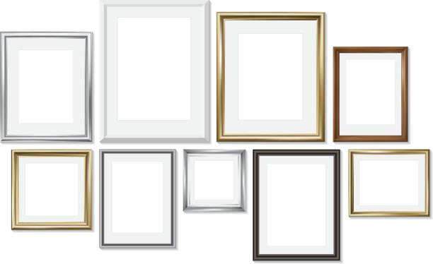 satz verschiedener bilderrahmen isoliert auf weißem hintergrund - palettenbilderrahmen stock-grafiken, -clipart, -cartoons und -symbole
