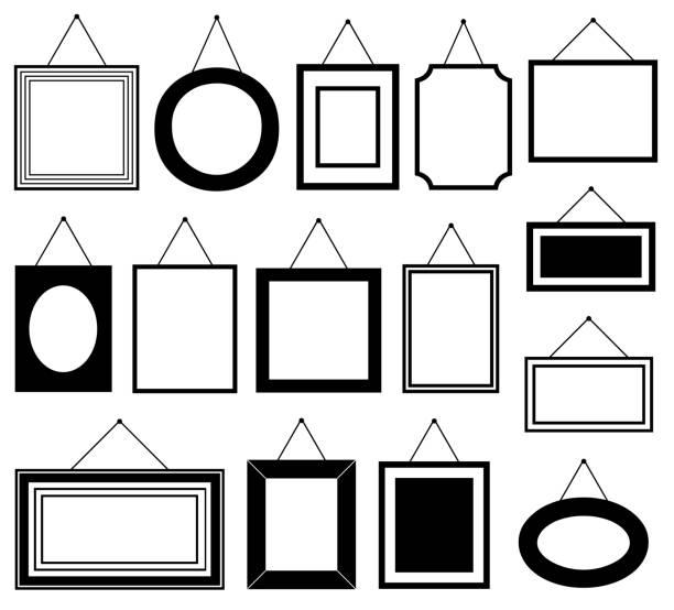 reihe von verschiedenen bilderrahmen - palettenbilderrahmen stock-grafiken, -clipart, -cartoons und -symbole